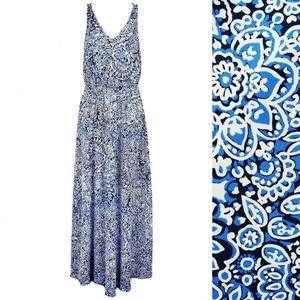 LOFT Blue Paisley Floral Strappy Maxi Dress XS